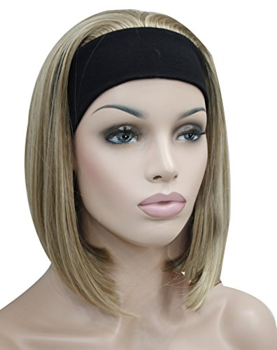 Kalyss Short Bob Straight Blonde Half 3/4 Wigs for Women Premium Synthetic Blonde with Highlights Strips Natural Looking Hair Replacement Wigs with Black Headband