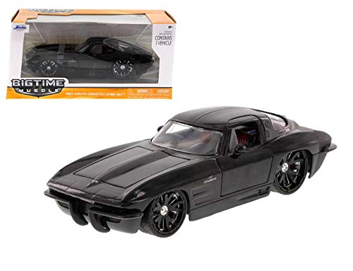 1963 Chevy Corvette Stingray, Black - Jada Toys Bigtime Muscle 90218 - 1/24 scale Diecast Model Toy Car ()