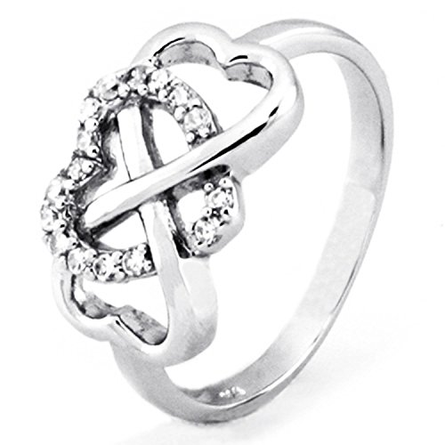 Sterling Silver Cubic Zirconia Heart Infinity Wedding Band Ring, Size 10 - Tiffany Knot Ring