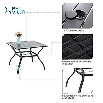 "PHI VILLA 37"" Outdoor Patio Bistro Metal Steel Slat Dining Table with Umbrella Hole"