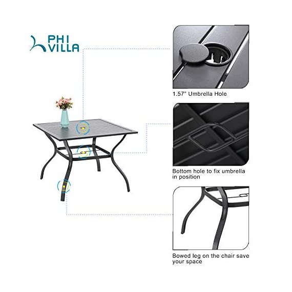"PHI VILLA 5 Piece Outdoor Patio Dining Set, Square Metal Slatted Table with 1.57"" Umbrella Hole & 4 Metal Chairs for… - 1 METAL TABLE - Metal dining table with thick slat metal tabletop, rust and weather resistant. Powder-coated wood like finish, can be easily cleaned up with damp cloth and water. Skid resistant feet for uneven ground and against floor scratching. Dimensions: 37""L x 37""W x 28""H. 4 METAL PATIO CHAIRS - Made of lightweight steel with exquisite black e-coating, more stable and sturdy, supports 300 lbs. The height of backrest and seat is ergonomically designed, spacious and comfortable for six people family dinner and party. Also can be stacked for easy storage. ELEGANT DESIGN - The 5 piece outdoor dining table set beautifully transforms any backyard, porch, balcony or deck into an elegant dining area with its superior quality & deep comfort feel. Match any decor and suitable for outdoor and indoor use. - patio-furniture, dining-sets-patio-funiture, patio - 41QXL27JzEL. SS570  -"