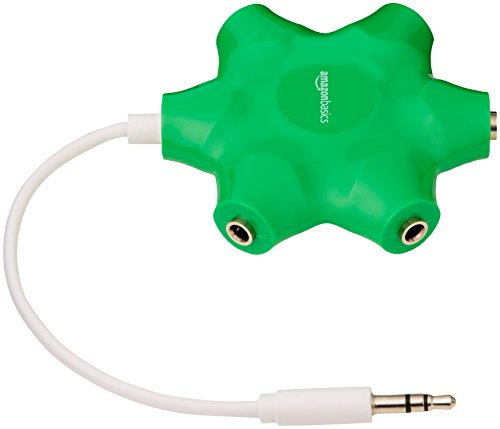 AmazonBasics 5-Way Multi Headphone Splitter, Neon - 4 Prong Jack Phone