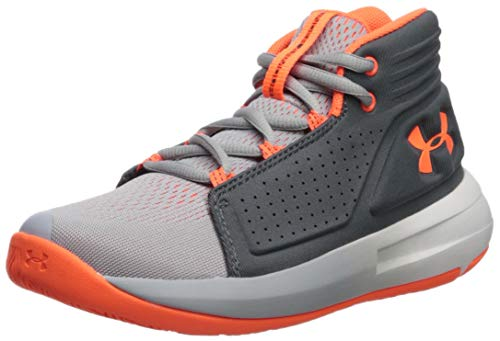Under Armour Boys' Pre School Torch Mid Basketball Shoe, Mod Gray (101)/Pitch Gray, 13.5K M US Little Kid
