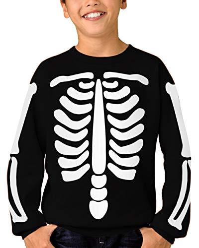 - Kid Halloween Pullover Sweatshirt Skeleton Bones Printed Hoodies Sweatshirt 2-4T