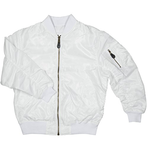 Men's MA-1 Spring Reversible Flight Bomber Pilot Jacket-MA6-Wht-Lg by North 15