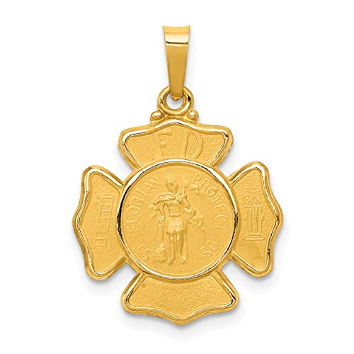 14k Yellow Gold Firefighter Badge With Saint Florian Protect Us Words Pendant -