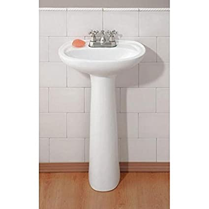 Bon Cheviot 613 WH 1 White Fiore Pedestal Sink With Single Hole Faucet Drilling