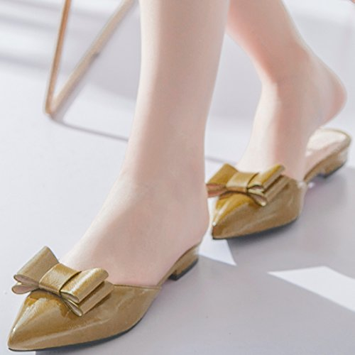 YE Women's Casual Pointed Toe Slip On Flat Mules Slide with Bow Green SXpYCL2P