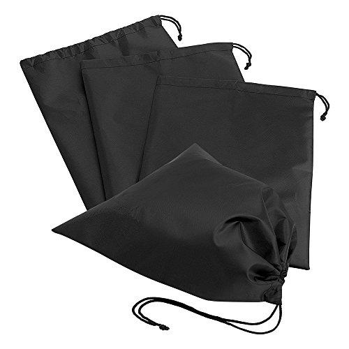 (Kbnian Travel Shoe Bags 4 Pack Portable Waterproof Shoes Organizer with Sealing Drawstring Black Nylon Shoes Storage)