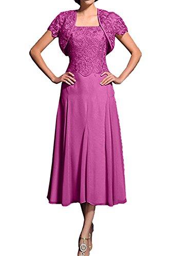 Partykleider Wadenlang Pink Brautmutterkleider Abendkleider 2018 Damen Bolero Lilac mit Spitze Charmant Neu x4a8qBw