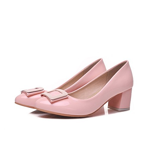AllhqFashion Womens Solid Patent Leather Kitten Heels Pointed Closed Toe Pumps-Shoes Pink GF8xS