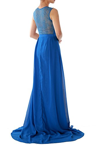 MACloth Women Straps V Neck Lace Chiffon Long Evening Formal Gown Prom Dress Burgundy