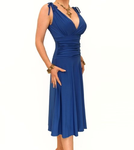 blue grecian dress - 2
