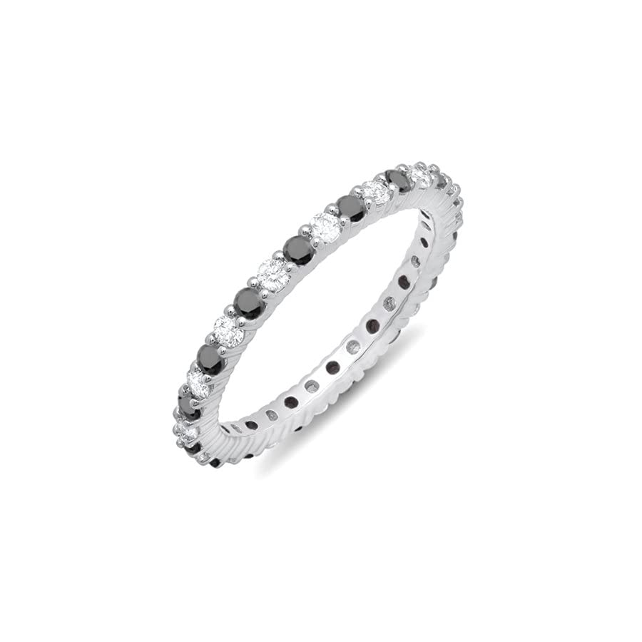 Dazzlingrock Collection 1.00 Carat (ctw) 10K White Gold Black & White Diamond Ladies Eternity Anniversary Wedding Band 1 CT