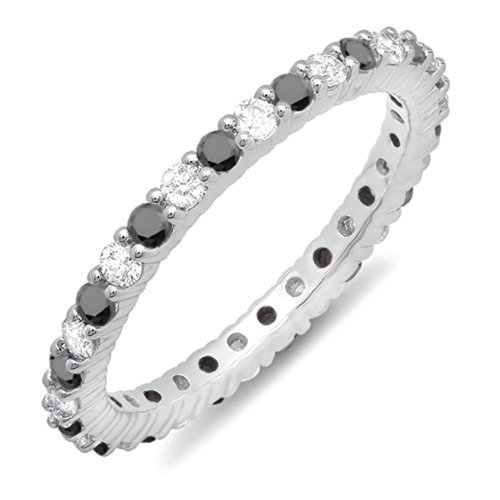 1.00 Carat (ctw) 10K White Gold Black & White Diamond Ladies Eternity Anniversary Wedding Band 1 CT