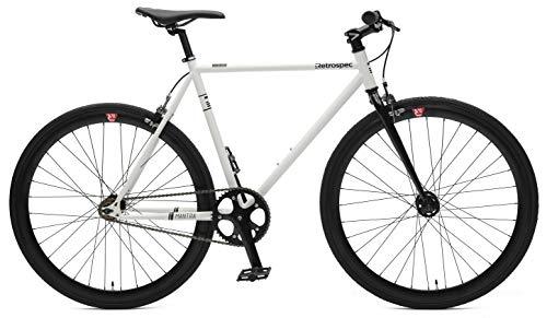 - Retrospec Bicycles Mantra V2 Single Speed Fixed Gear Bicycle, White/Black, 53cm/Medium