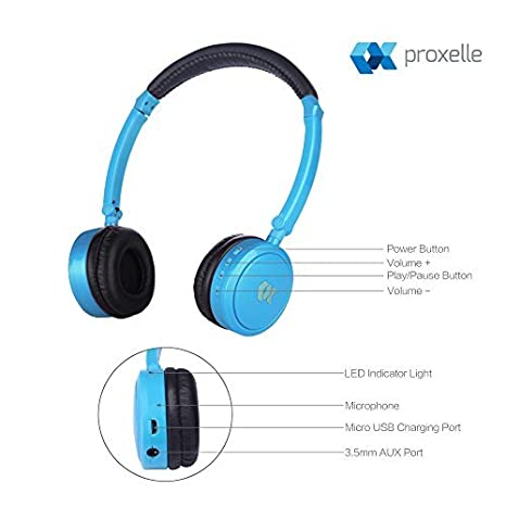 Proxelle - Auriculares para Niños Inalámbricos Bluetooth con Limitador de Volumen Cascos Wireless Infantiles Plegables para iPhone, Android Smartphones, ...