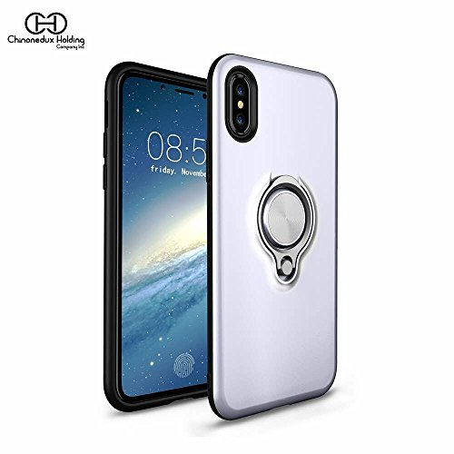 Chinonedux iPhone X Case With Ring Holder,360°Adjustable Rotatable Finger Ring Grip Stand Compatible with Magnetic Car Mount Ultra Thin Slim Case for Apple iPhone X ()