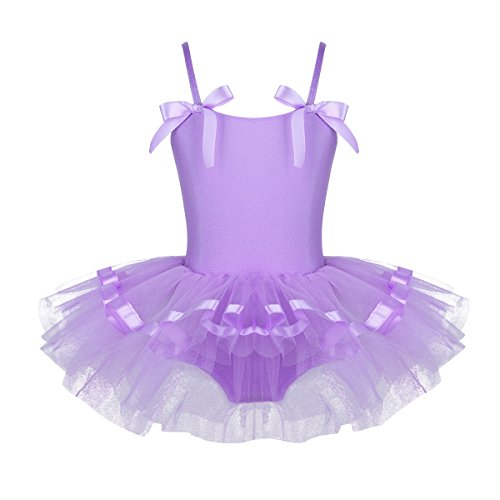 FEESHOW Girls Sequined Camisole Ballet Dress Leotard Chiffon Skirt Sparkly Fairy Dance wear Costumes Bowknot Lavender -