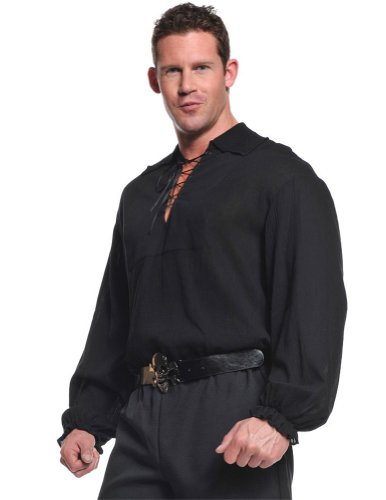 Medieval Shirt Adult Costumes (Pirate Shirt (Black) Adult Accessory Size 48
