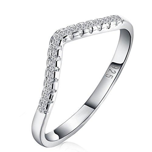 Gold V-shaped Ring Ring - AnaZoz Fashion Rings, Silver Plated Novelty Cubic Zirconia V Shaped Women Ring Band Size 6