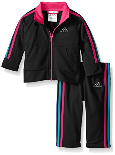 adidas Little Girls' Tricot Zip Jacket and Pant Set, Black/Pink, 6
