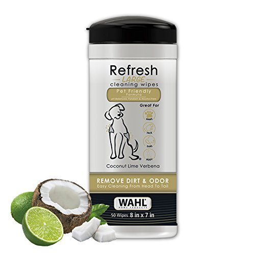 Wahl Dog/Pet Refresh Cleaning Wipes, 50 Wipes, Coconut Lime Verbena (Best Way To Shave Ass)