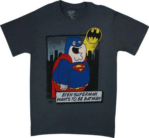 Family Guy Superman Wants to be Batman Men's Grey T-Shirt, Large