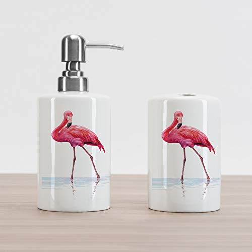 Ambesonne Animal Soap Dispenser and Toothbrush Holder Set, 2 Hand Drawn Flamingos in Pink Colors on Seaside Tropical Wildlife Artwork, Ceramic Bathroom Accessories, 4.5