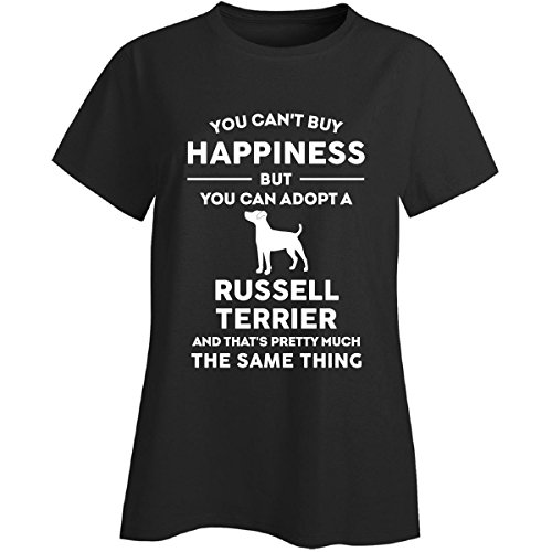 (Inked Creatively Can't Buy Happiness Adopt Russell Terrier Ladies T-Shirt Black)
