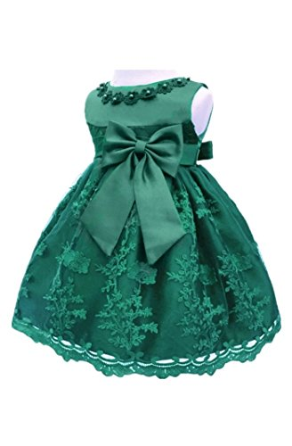 H.X Baby Girl's Newborn Bowknot Gauze Christening Baptism Dress Infant Flower Girls Wedding Dresses 13 Color (6M/6-9 Months, Dark Green) -