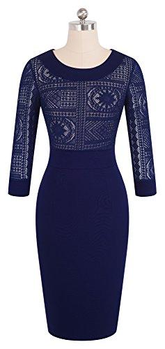 Dcontract Fonc B423 HOMEYEE Neck Bleu Dress Scoop Femme Dentelle Gaine Business Zwqnx1BqS5