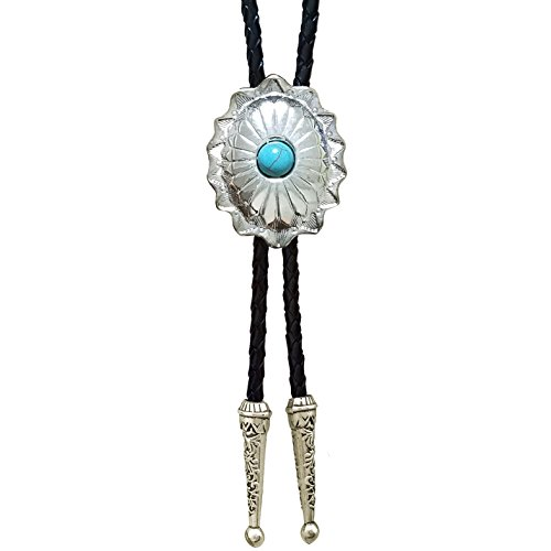 SELOVO Western Celtic Pattern Rhinestone Bolo Tie Genuine Leather Silver Tone (Genuine Leather Tie)