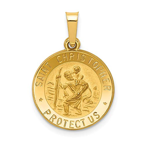 14k Yellow Gold Saint Christopher Medal Pendant Charm Necklace Religious Patron St Fine Jewelry Gifts For Women For Her