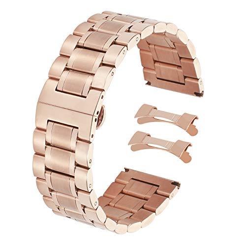 - Luxury Stainless Steel Metal Watch Strap Fashion Rose Gold Ladies 18mm