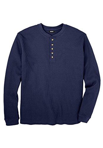 Tall Waffle Knit Thermal Henley Tee, Navy Tall-Xl ()