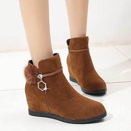 Marrón De Zapatos Bazhahei Redonda Botas Boots Cuña Cabeza Mujer Con Color Botines Gamuza Para Pure Zapatillas Pelo Bola Punta Ante Zipper RtwndqxREH