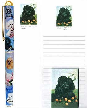 Poodle in Flowers Stationery Gift Set