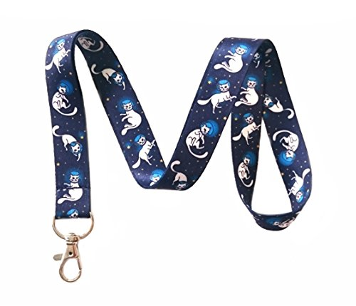 Space Cat Print Lanyard Key Chain Id Badge Holder