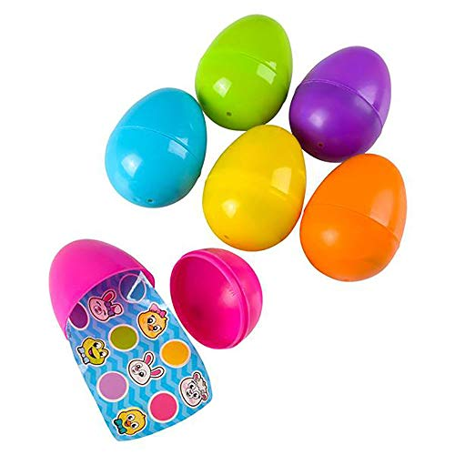 """3"""" Assorted Plastic Easter Eggs – 12 pieces Set of Mini Colorful Surprise Egg with Single Sticker Sheet Inside- Teacher Supplies, Stationery, Birthday Party Favor, Arts & Crafts, Scrap booking"""