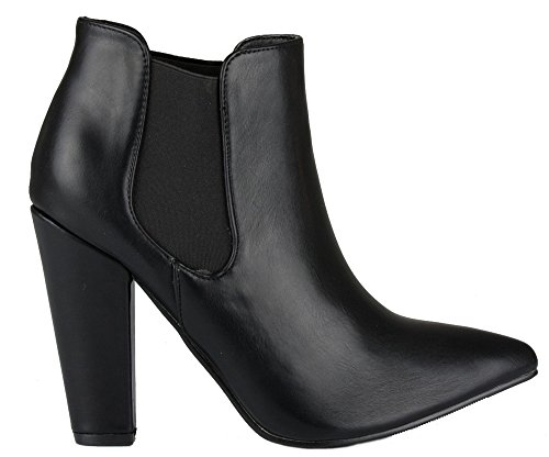ANKLE WINTER BLOCK CHELSEA MID LADIES 8 BOOTIES HIGH BOOTS Black Leather 3 WOMENS 12 Style SIZE PLATFORM HEEL HEELED 0pxvWS