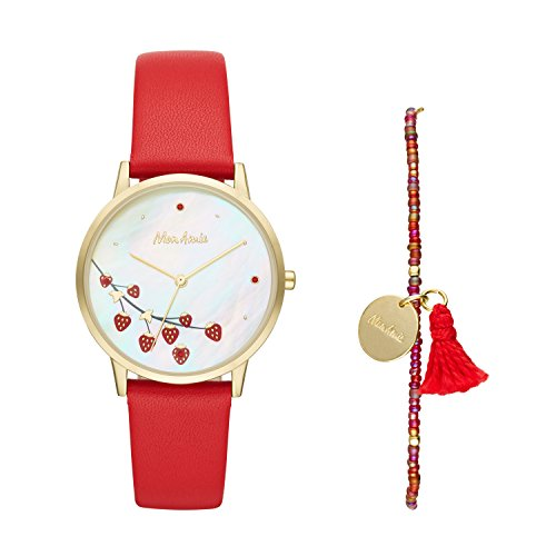 Mon Amie Women's Quartz Stainless Steel and Leather Watch and Bracelet Set – Supports School Lunches, Color: Gold-Tone, Red (Model: CBMA8504)