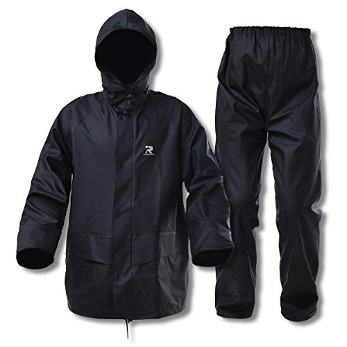 Commercial Rain Jacket with Pants for Men Women Rain Suits Waterproof Heavy Duty Foul Weather Gear(Black, Medium)