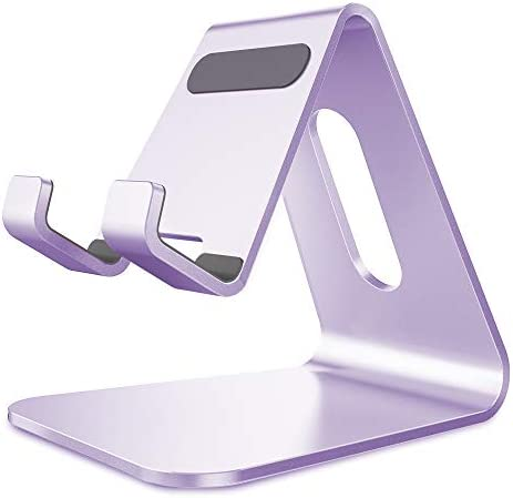 CreaDream Cell Phone Stand, Cradle, Holder,Aluminum Desktop Stand Compatible with Switch, All Smart Phone, iPhone 11 Pro Xs Max Xr X Se 8 7 6 6s Plus SE 5 5s-Purple
