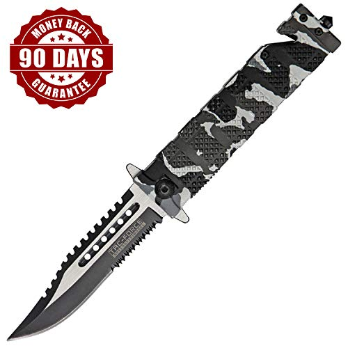 Tactical Folding Knifes Spring Assisted Pocket Knife With Clip And Lock Blade | Serrated Pocket Knife With Seatbelt Cutter And Glass Breaker | 3 Inch Blade Pocket Knife For Man Sawback Camo Urban