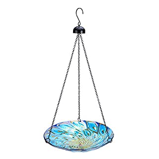 MUMTOP 11-inch Hanging Bird Bath Glass Bird Bath Outdoor Bird Feeder for Garden Decoration