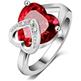 Women's Carat Heart-shaped Cut Red Cubic Zirconia Platinum Plated Engagement Wedding Rings Size 6 to 9