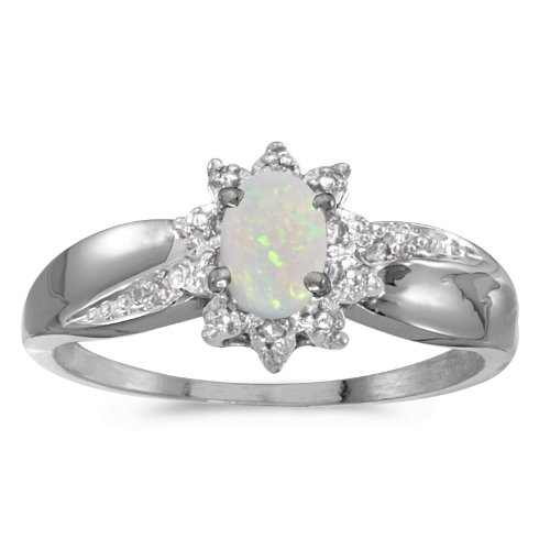 Jewels By Lux 10k White Gold Oval Opal And Diamond Ring Size ()