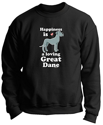 Great Dane Crewneck Sweatshirt (Great Dane Gift Happiness is a Loving Great Dane Premium Crewneck Sweatshirt XL Black)