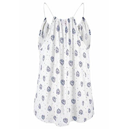 sans XL Sangle 2XL Femmes V Réservoir Imprimé Shirt Camisole T Blouse Blanc Cou LuckyGirls Casual Manches Dames Maxi Tops Gilet w0qdTxnUz